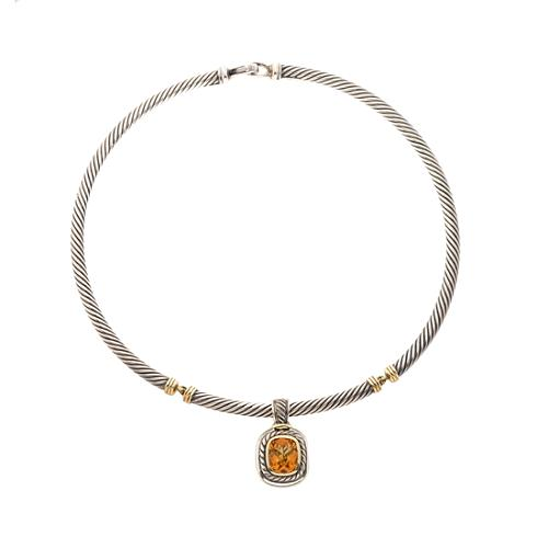 David Yurman Citrine Albion Earrings and Necklace Set