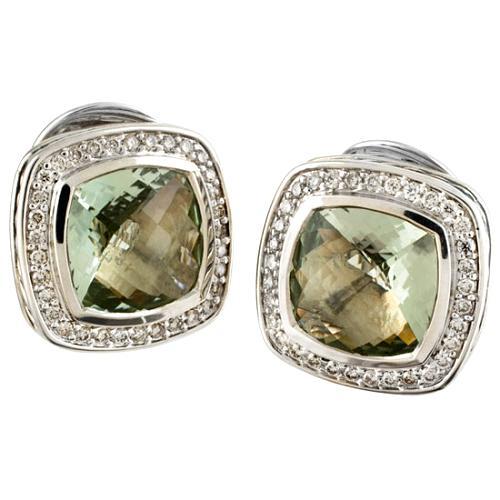 David Yurman Diamond & Prasiolite Cable Earrings