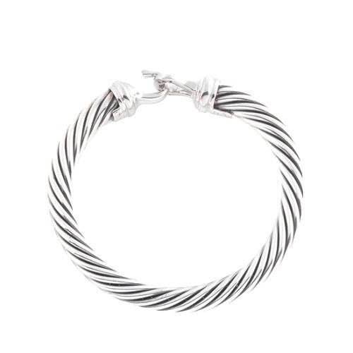 David Yurman Diamond & Sterling Silver Buckle Bracelet