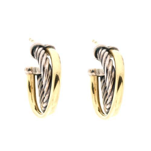 David Yurman Extra Small 3mm Crossover Hoop Earrings