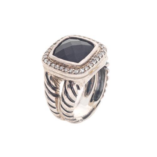 David Yurman Moonlight Icing Onyx and Diamond Ring