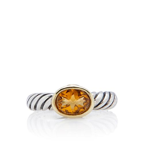 David Yurman Sterling Silver Noblesse Citrine Ring - Size 5