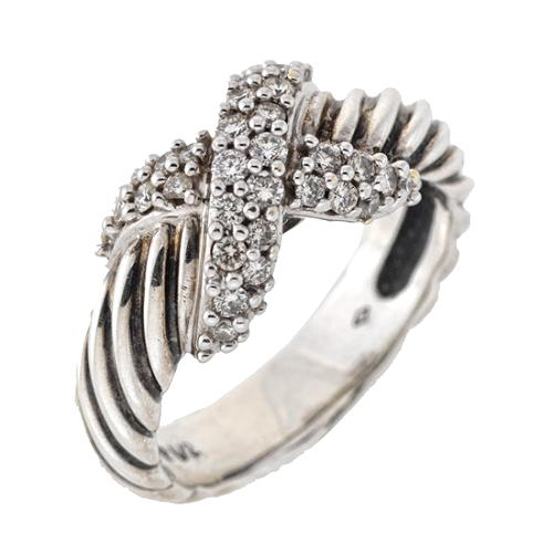 David Yurman Pave Diamond X Ring