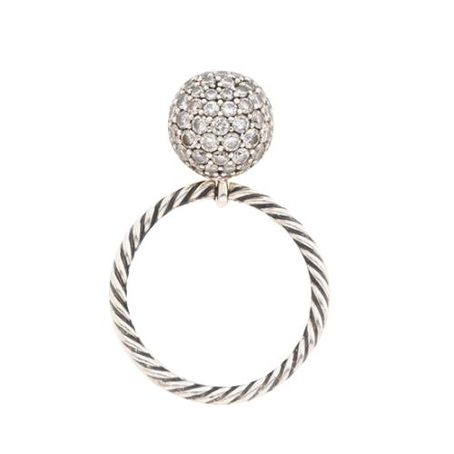 David Yurman Pave Diamond & Sterling Silver Stackable Ring
