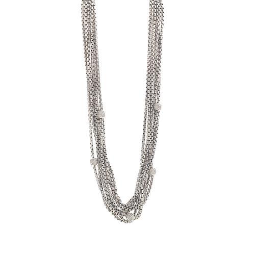 David Yurman Petite Pave Diamond Bead Chain Necklace