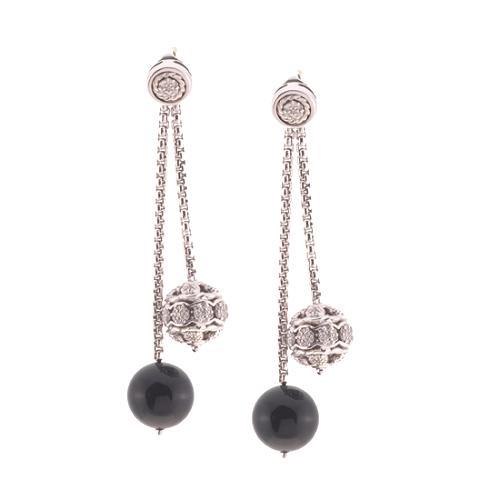 David Yurman Petite Pave Diamond & Onyx Bead Earrings
