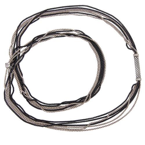 David Yurman Silver Graphite Ice Multi Row Necklace