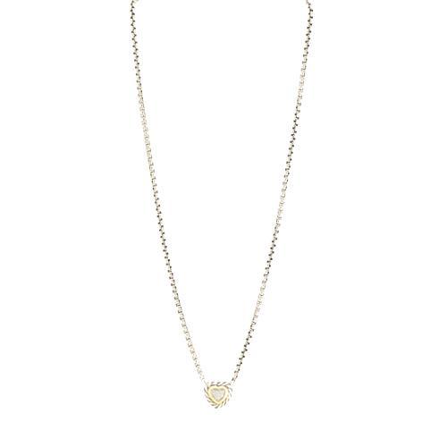 David Yurman Silver Ice Pave Diamond Heart Necklace