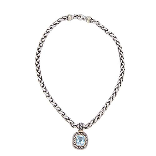 David Yurman Sterling Silver 14kt Gold Blue Topaz Enhancer Wheat Chain Necklace