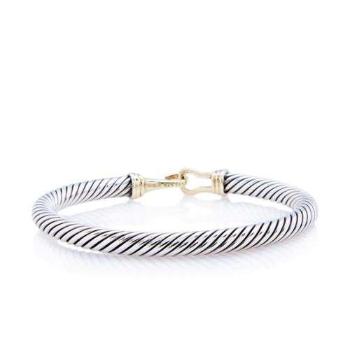 David Yurman Sterling Silver 14kt Yellow Gold Cable Buckle 5mm Bracelet