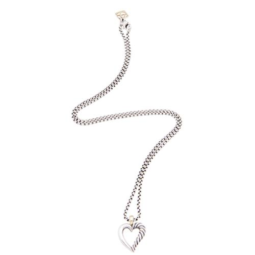 David Yurman Sterling Silver 14kt Yellow Gold Cable Heart Mini Necklace