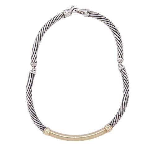David Yurman Sterling Silver 14kt Yellow Gold Cable Necklace