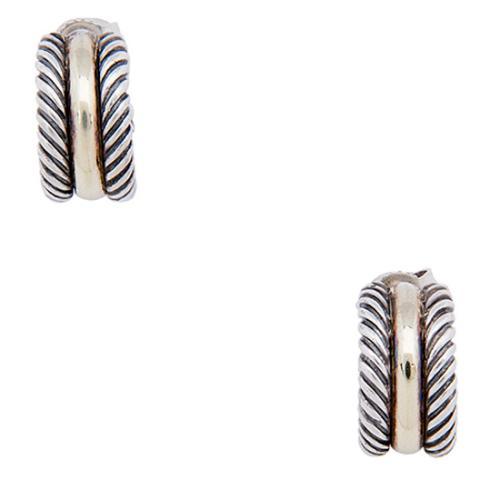 David Yurman Sterling Silver 14kt Yellow Gold Classic Cable Mini Hoop Earrings