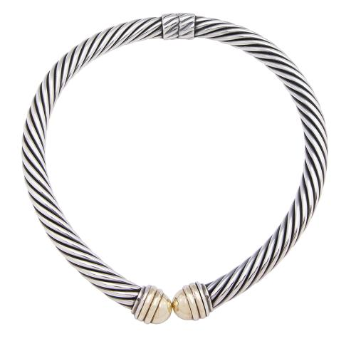 David Yurman Sterling Silver 14kt Yellow Gold Hinged Cable Choker Necklace