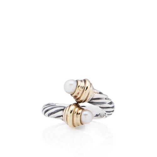 David Yurman Sterling Silver 14kt Yellow Gold Pearl Bypass Ring - Size 6