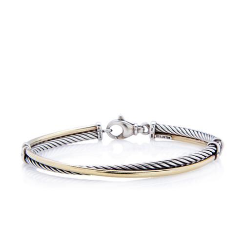 David Yurman Sterling Silver 18k Yellow Gold Cable Crossover Bracelet