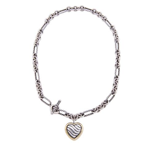 David Yurman Sterling Silver 18k Yellow Gold Cable Heart Figaro Necklace
