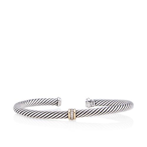 David Yurman Sterling Silver 18kt Gold Diamond Cable Classics 4mm Bracelet