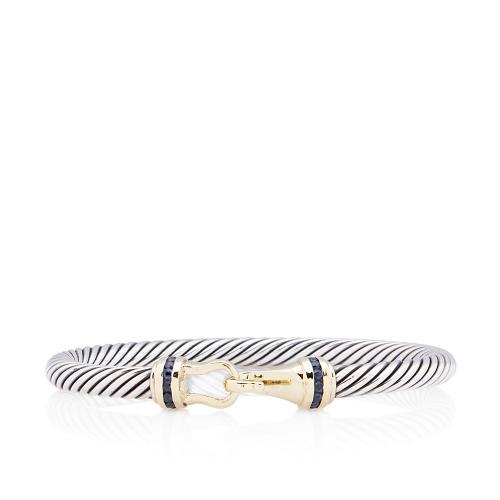 David Yurman Sterling Silver 18kt Gold Diamond Sapphire Cable Buckle Bracelet