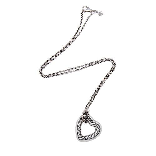 David Yurman Sterling Silver 18kt Yellow Gold Cable Heart Necklace