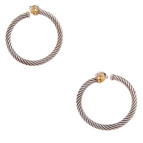 David Yurman Sterling Silver 18kt Yellow Gold Cable Twist Hoop Earrings