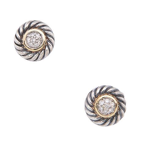 David Yurman Sterling Silver 18kt Yellow Gold Diamond Cookie Earrings