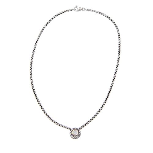 David Yurman Sterling Silver 18kt Yellow Gold Diamond Cookie Necklace