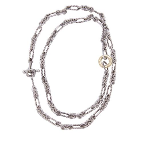 David Yurman Sterling Silver 18kt Yellow Gold Figaro Long Chain Necklace
