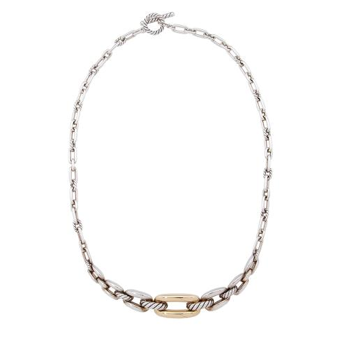 David Yurman Sterling Silver 18kt Yellow Gold Wellesley Necklace