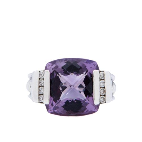 David Yurman Sterling Silver Amethyst Diamond Deco Ring - Size 6