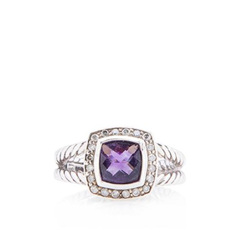 David Yurman Sterling Silver Amethyst Petite Albion Ring - Size 6