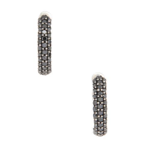 David Yurman Sterling Silver Black Diamond Pee Pave Huggie Hoop Earrings