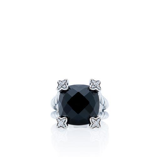 David Yurman Sterling Silver Black Onyx Diamond Cushion On Point Ring - Size 6