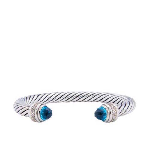 David Yurman Sterling Silver Blue Topaz Cable Classics 7mm Bracelet - FINAL SALE