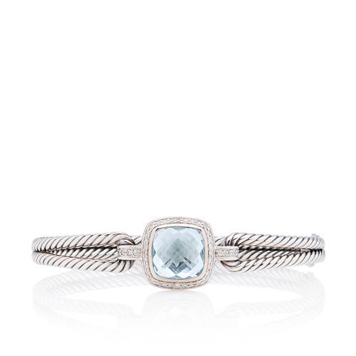 David Yurman Sterling Silver Blue Topaz Diamond Albion Bracelet