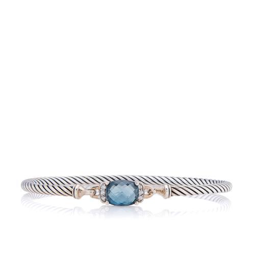 David Yurman Sterling Silver Blue Topaz Diamond Petite Wheaton Bracelet