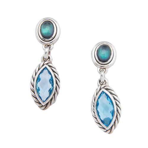 David Yurman Sterling Silver Blue Topaz Double Drop Earrings