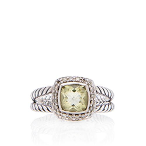 David Yurman Sterling Silver Citrine Petite Albion Ring - Size 7 1/2