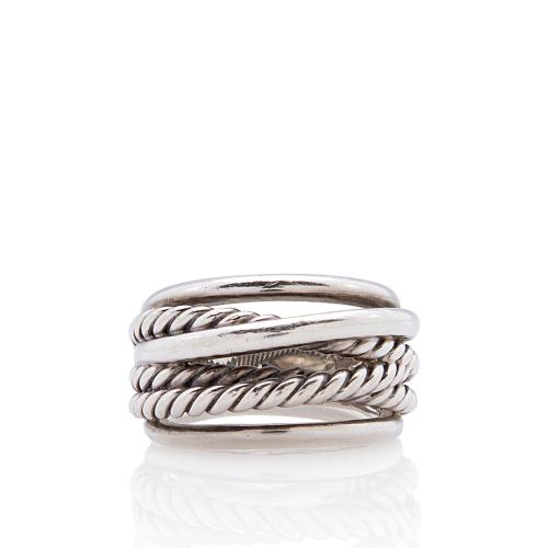 David Yurman Sterling Silver Crossover Wide Ring - Size 8