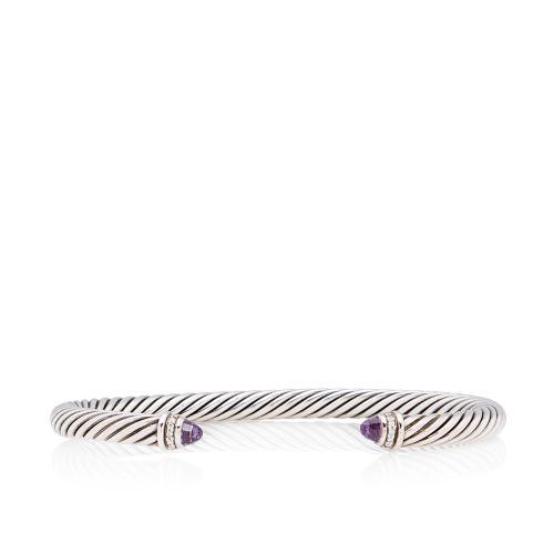 David Yurman Sterling Silver Diamond Amethyst Cable Classics 5mm Bracelet