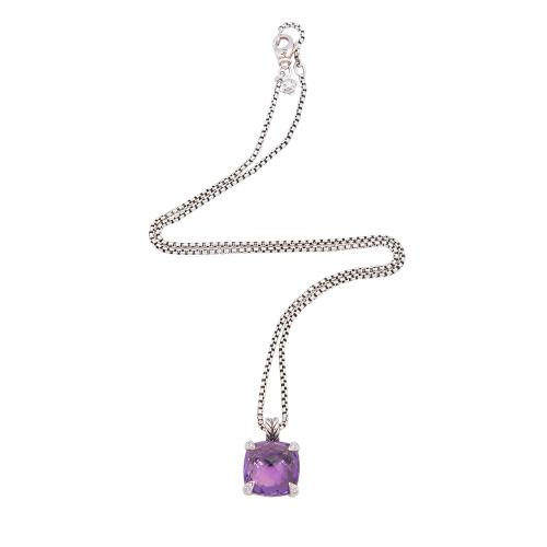 David Yurman Sterling Silver Diamond Amethyst Faceted Pendant Necklace