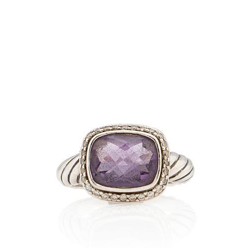 David Yurman Sterling Silver Diamond Amethyst Noblesse Ring Size - 6 1/2