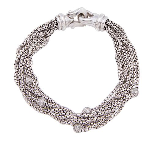 David Yurman Sterling Silver Diamond Bead 6 Strand Bracelet