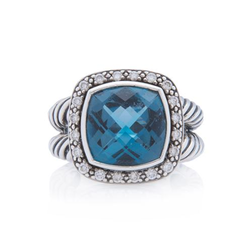 David Yurman Sterling Silver Diamond Blue Topaz 11mm Albion Ring - Size 7 1/2