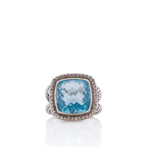 David Yurman Sterling Silver Diamond Blue Topaz 11mm Albion Ring - Size 8