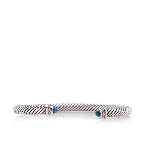 David Yurman Sterling Silver Diamond Blue Topaz Cable Classics 5mm Bracelet