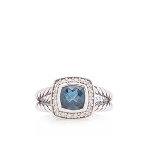 David Yurman Sterling Silver Diamond Blue Topaz Petite Albion Ring - Size 6