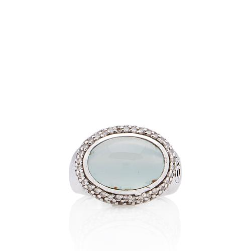 David Yurman Sterling Silver Diamond Chalcedony Signature Ring - Size 5
