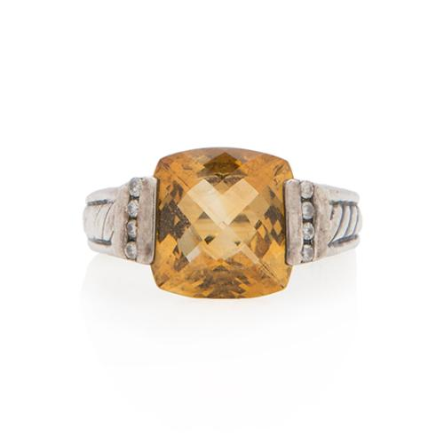 David Yurman Sterling Silver Diamond Citrine Deco Ring - Size 5 1/2