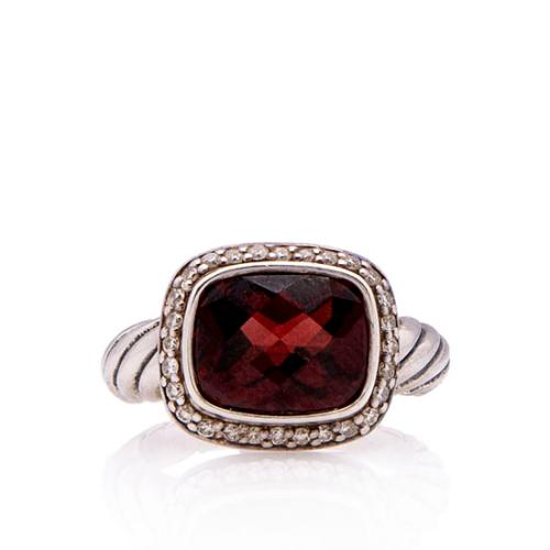 David Yurman Sterling Silver Diamond Garnet Noblesse Ring - Size 5